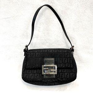 Fendi Black Zucchino Canvas Mini Mama Baguette Bag